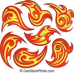 fuoco, tatuaggio, set, fiamma