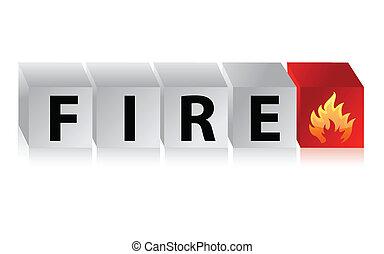 fuoco, testo, bottone, cubo