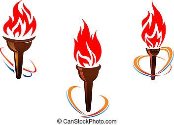 fuoco, torce, tre, fiamme