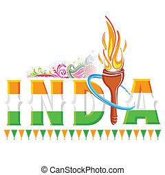 fuoco, torcia, india, fondo