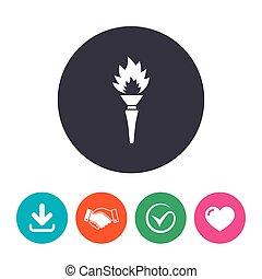 fuoco, torcia, simbolo., segno, fiamma, icon.