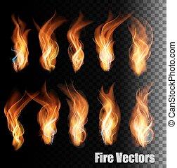 fuoco, vectors, su, trasparente, fondo.