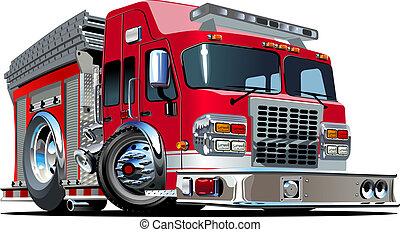 fuoco, vettore, camion, cartone animato