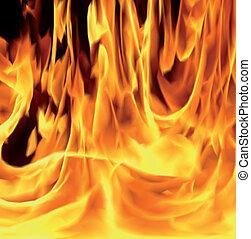 fuoco, vettore, illustrazione, fiamme, texture.