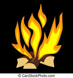 fuoco, vettore, illustrazione