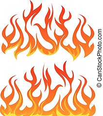 fuoco, vettore,  set, fiamme