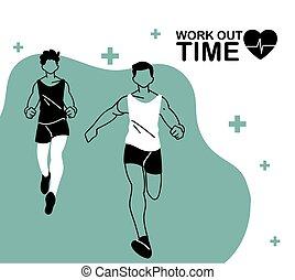 fuori, avatars, disegno, tempo, correndo, lavoro, vettore, ...
