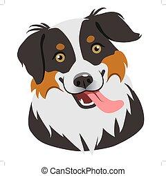 fuori., cane, carino, appartamento, lingua, isolato, faccia, amanti, sorridente, disegno, style., amichevole, vettore, animale, bianco, herding, animali domestici, ritratto, elemento, contemporaneo, themed, cartone animato, illustration.