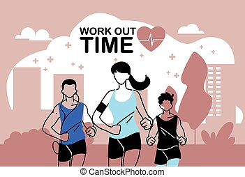 fuori, disegno, tempo, donna correndo, lavoro, vettore, ...