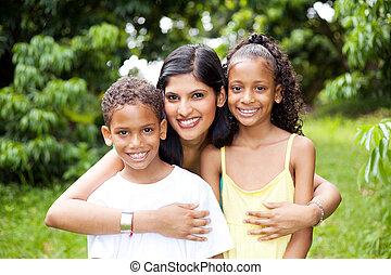fuori, felice, latino, bambini, madre