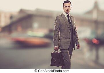 fuori, grigio, cartella, uomo, classico, completo
