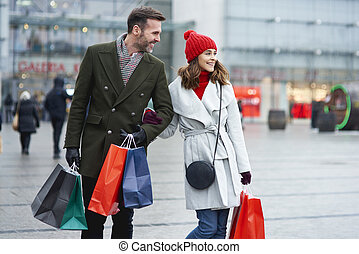 fuori, insieme, shopping, coppia, felice