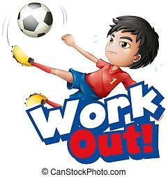 fuori, lavoro, disegno, font, parola, capretto, esercizio