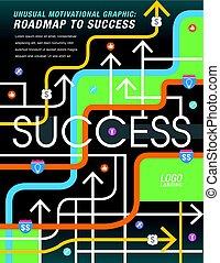 fuori, strada, successo, mapped