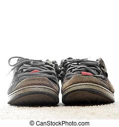 fuori, vecchio, scarpe, portato, skateboarding