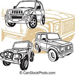 fuoristrada, automobili, -, vettore, set.