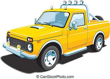 fuoristrada, giallo, veicolo