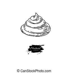 fuoriuscita, drawing., mano, cibo, vettore, disegnato, ...