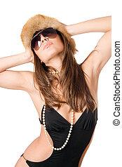fur-cap, atraente, swimsuit, senhora, desgastar