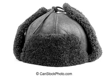Fur cap for winter on a white background