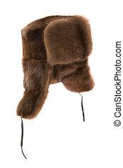 Fur cap - Winter fur cap on a white background