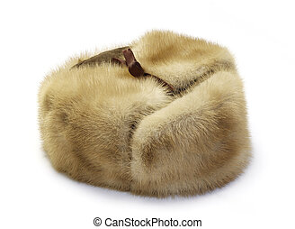 Fur cap winter isolated on white