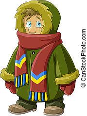 Fur coat - A boy in a fur coat, vector