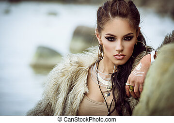 Fur coat and flash tattoos - Portrait of a beautiful lady...