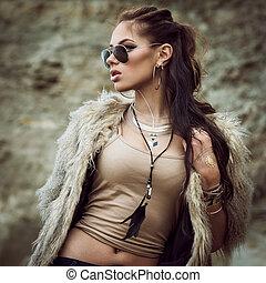 Fur coat and flash tattoos - Portrait of a beautiful lady...
