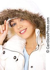 Fur hood - Portrait of beautiful woman wearing hooded winter...