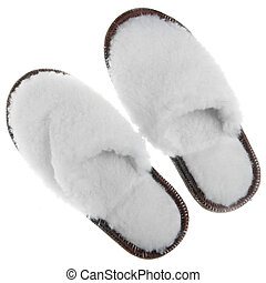 Fur house slippers isolated over white background