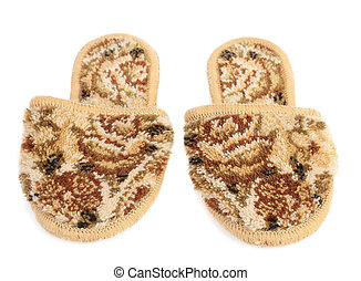 Fur house slippers isolated white background