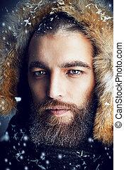 fur jacket for man - Portrait of a handsome brutal man with ...
