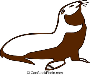 vector illustration of a fur seal