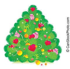 fur-tree, 心, クリスマス, 飾られる, 甘いもの