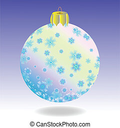 Fur-tree ball - Striped fur-tree ball with snowflakes on a...
