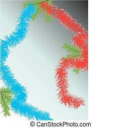Fur-tree branch and tinsel on a blue background. Vector