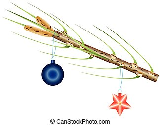 Fur-tree - Christmas toy on a branch of a fur-tree isolated...