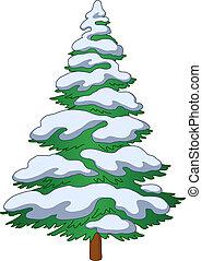 fur-tree, con, nieve