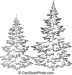 Fur-tree, contours - Trees, fur-tree, vector, christmas...