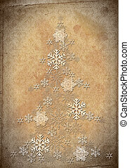 Fur tree from snowflakes against an old paper. Retro...