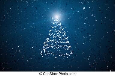 fur-tree, oscuridad, b, copos de nieve