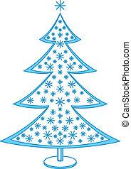 fur-tree, płatki śniegu