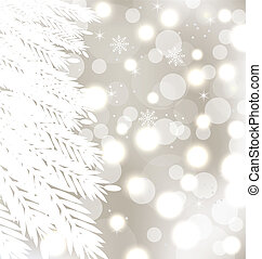 fur-tree, résumé, hiver, fond, incandescent