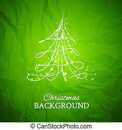 Fur-tree, vector. - Simple sketch and glossy Christmas tree ...