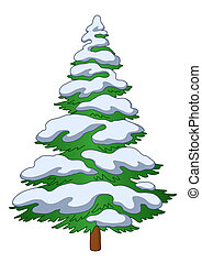 Fur-tree with snow - Christmas fur-tree with snow, winter...