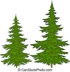 Trees, vector, christmas green fur-trees, isolated on a white background