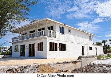 furacão, danificado, casa praia