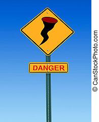 furacão, perigo, sinal aviso