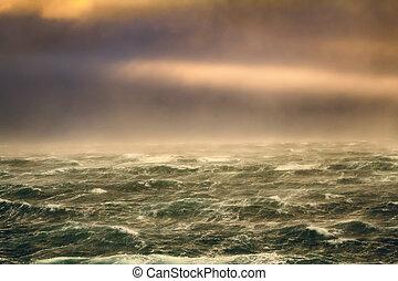 furacão, ventos, em, a, oceano ártico